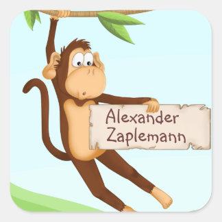 Etiqueta do macaco com nome adesivo quadrado