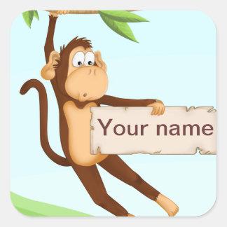 Etiqueta do macaco para crianças adesivo em forma quadrada