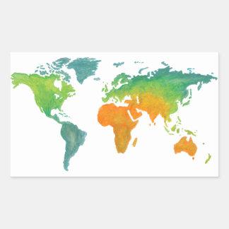 Etiqueta do mapa do mundo da aguarela
