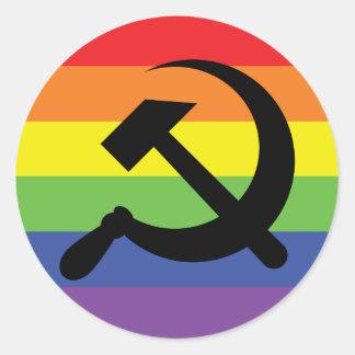 Etiqueta do martelo & da foice do arco-íris