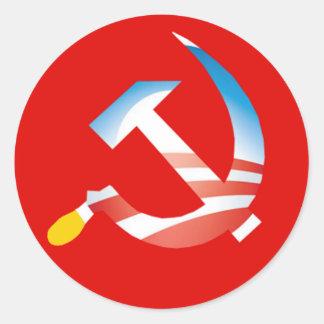 Etiqueta do martelo e da foice de Obama Adesivos Em Formato Redondos