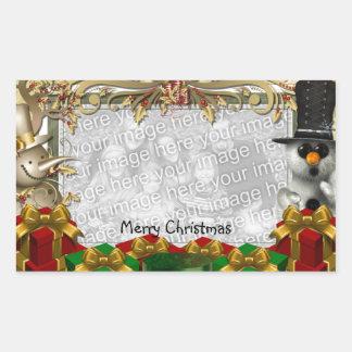 Etiqueta do modelo da foto do Natal Adesivos Retangulares