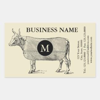 Etiqueta do monograma da cobertura da vaca da adesivo retangular