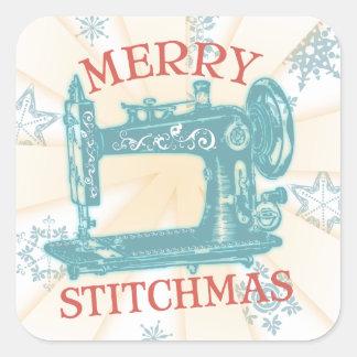 Etiqueta do Natal da máquina de costura do vintage Adesivos Quadrados