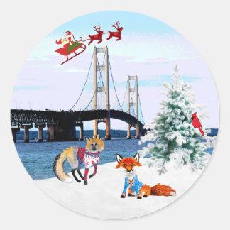 Etiqueta do Natal da ponte de Mackinac
