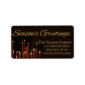 Etiqueta do Natal das velas dos cumprimentos da