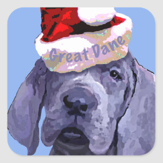 Etiqueta do Natal do filhote de cachorro de great Adesivo Quadrado