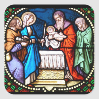 Etiqueta do Natal do Jesus Cristo do vitral