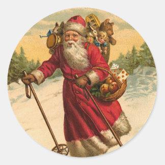 Etiqueta do Natal do papai noel do esqui