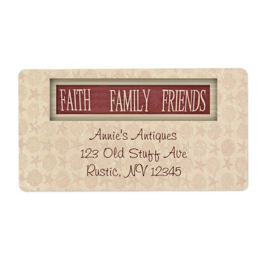 Etiqueta do negócio dos amigos da família da fé