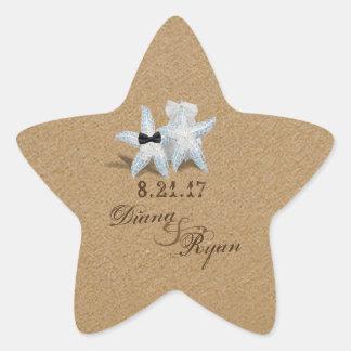 Etiqueta do noivo da noiva da estrela do mar