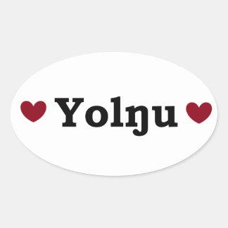 Etiqueta do orgulho de Yolngu do coração (oval) Adesivo Oval