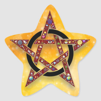 Etiqueta do ouro do Pagan ou da estrela de Wiccan