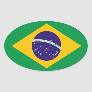 Etiqueta do Oval da bandeira de Brasil Adesivo Oval