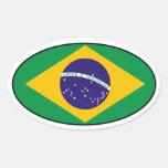 Etiqueta do Oval da bandeira de Brasil Adesivos Em Formato Oval