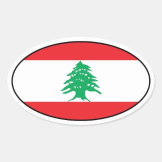 Etiqueta do Oval da bandeira de Líbano Adesivos Ovais