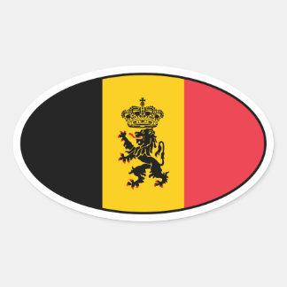 Etiqueta do Oval da bandeira do estado de Bélgica Adesivo Oval