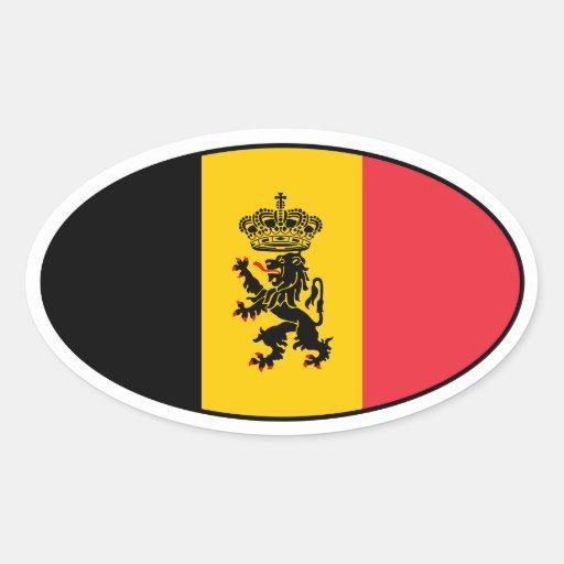 Etiqueta do Oval da bandeira do estado de Bélgica Adesivos Oval