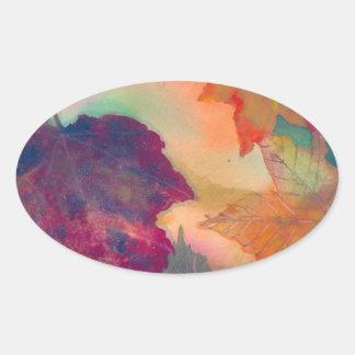 Etiqueta do Oval das folhas de outono