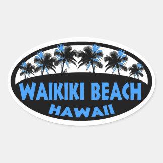 Etiqueta do oval das palmas do preto azul de Havaí Adesivo Oval