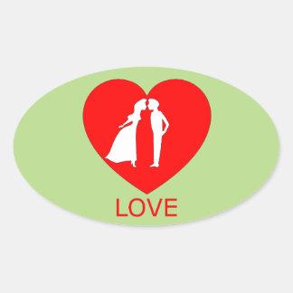 Etiqueta do Oval do coração do amor Adesivo Oval