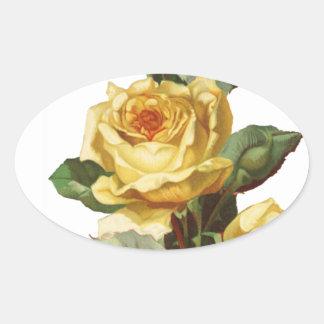 Etiqueta do Oval do rosa amarelo