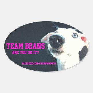 Etiqueta do oval dos feijões da equipe