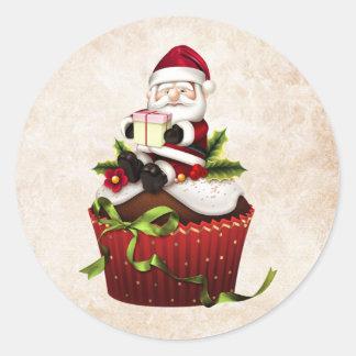 Etiqueta do papai noel do cupcake do Natal