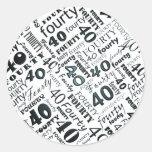 Etiqueta do partido de aniversário de 40 anos adesivos em formato redondos