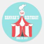 Etiqueta do partido de tenda do circus & de aniver adesivos em formato redondos