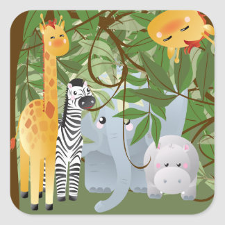 Etiqueta do partido dos animais da selva adesivo quadrado