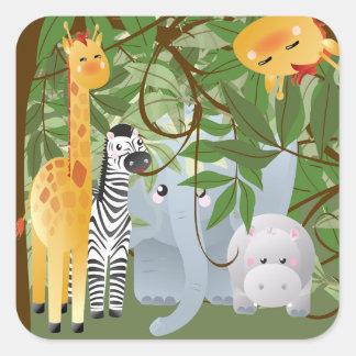 Etiqueta do partido dos animais da selva adesivos quadrados