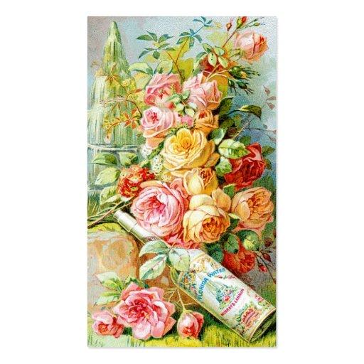 Etiqueta do perfume da água de Florida com rosas d Modelo Cartoes De Visita