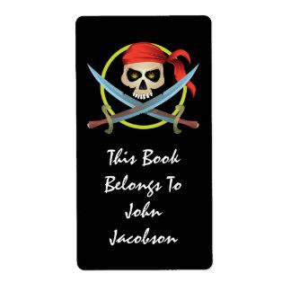 etiqueta do pirata do crânio 3D