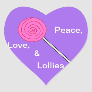 """""""Etiqueta do pirulito dos Lollies Loving"""" Adesivo Coração"""