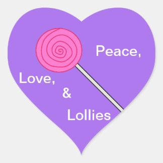 Etiqueta do pirulito dos Lollies Loving Adesivos De Corações
