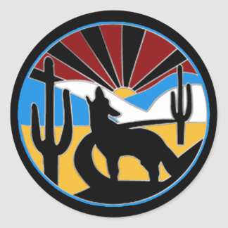 Etiqueta do por do sol do deserto