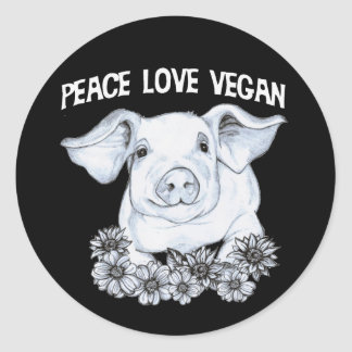 Etiqueta do porco do Vegan do amor da paz