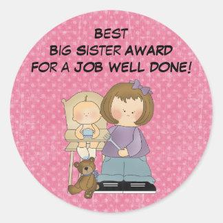 Etiqueta do prêmio da irmã mais velha
