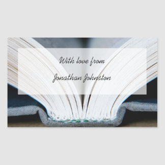 Etiqueta do presente do livro adesivo retangular