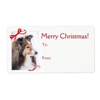 Etiqueta do presente do Natal de Sheltie