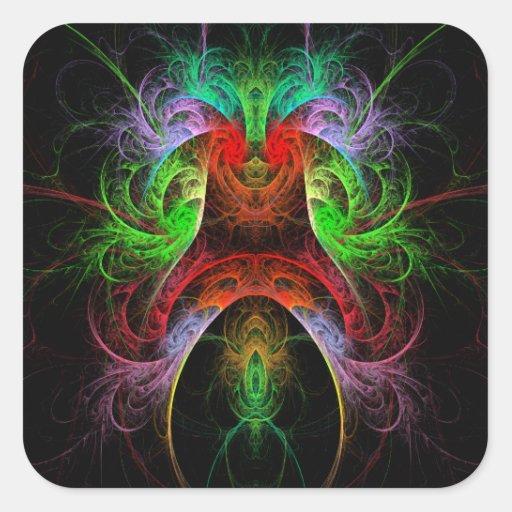 Etiqueta do quadrado da arte abstracta de Carnaval Adesivos Quadrados