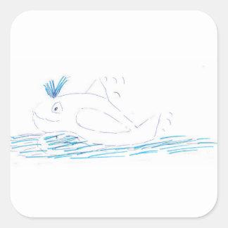 Etiqueta do quadrado da baleia de Wally