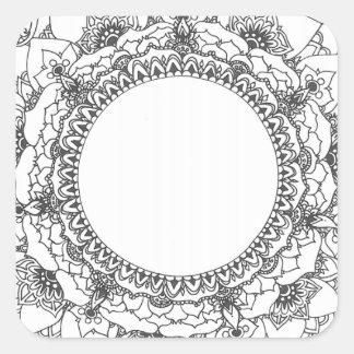 Etiqueta do quadrado da mandala da Lua cheia