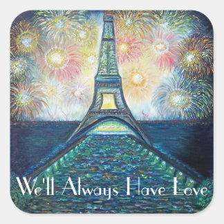 Etiqueta do quadrado da torre Eiffel de Paris