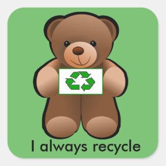 Etiqueta do reciclar do urso de ursinho do