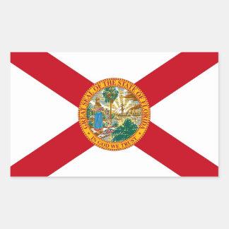 Etiqueta do retângulo com a bandeira de Florida, Adesivo Retangular