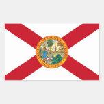 Etiqueta do retângulo com a bandeira de Florida, Adesivo Em Forma Retangular