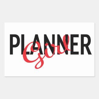 Etiqueta do retângulo da menina do planejador