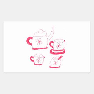 Etiqueta do retângulo do tempo do chá